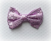 "Light Purple Sequin Bow. Purple Sequin Bow. Large Sequin Bow. 3.75"".  1 Bow."