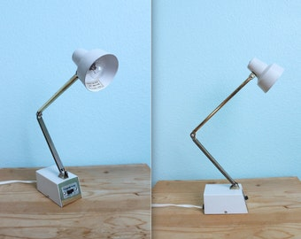 vintage white and gold Tensor articulating adjustable desk lamp / midcentury / model 1500