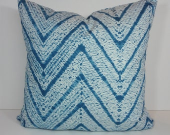 As Seen In HGTV Magazine Duralee Throw Pillow Cover, Euro Sham Cover, Aqua Shibori Cushion, Blue, Topaz, As Seen In HGTV Magazine