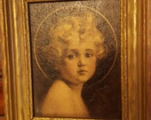 """Antique print of Portrait """"Light of the World"""" C Bossern Chambers artist  commissioned for St Ignatius Church Altar in 1920"""