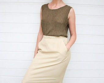ON SALE Vintage 60s Beige High Waist Midi Pencil Skirt with Embroidery