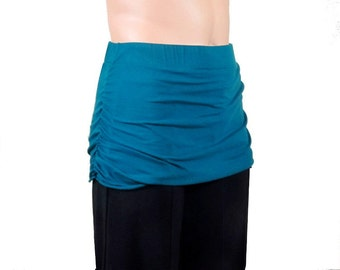 Yoga Skirt to Create Skirted Yoga Pants - Layering on Yoga Pants- Ruched Yoga Skirt- Womens Hand Dyed Bamboo/Organic Cotton-XXS thru Large