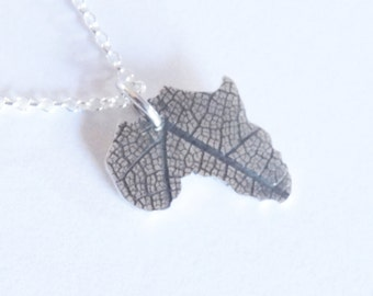 Africa Necklace Silver Leaf Africa Necklace African Continent Pendant African Nature- Sterling silver 925