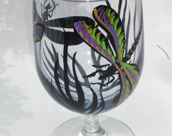 Hand painted dragonfly wine glass design
