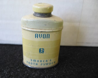 Vintage Avon Smoker's Tooth Powder Tin (MINI SAMPLE TIN)
