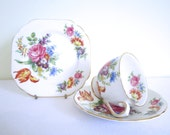 VINTAGE 1950s STANLEY fine bone china trio - cup, saucer, plate