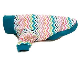 Teal Chevron Dog Shirt-Dog Shirts-Dog Clothes-Dog Sweater-Dog Clothing-Dog Apparel-Pet Clothes-Shirts for Dogs-Dog Sweatshirts