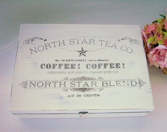 Shabby Chic Tea Box Vintage Style White Wood Wooden North Star Tea Company Upcycled Bentley's Storage