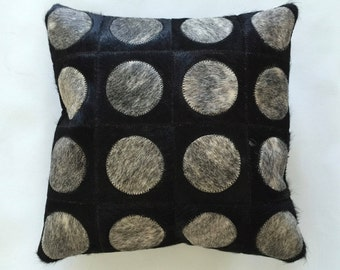 Cowhide Pillow - Black Grey Patchwork Cushion - 15 x 15 in