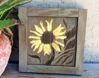 Sunflower on Reclaimed Wood, Wall Hanging