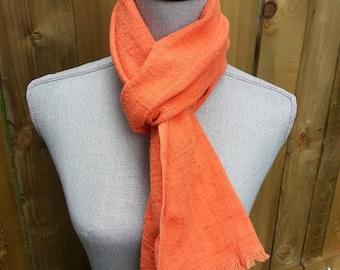 Orange handwoven hemp cotton scarf, organic, eco-friendly, SALE