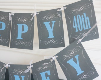 Aged to Perfection Vintage Dude Over the Hill 40th 30th 50th 60th Happy Birthday Chalkboard Black Blue Banner - Free Ship Over 65.00