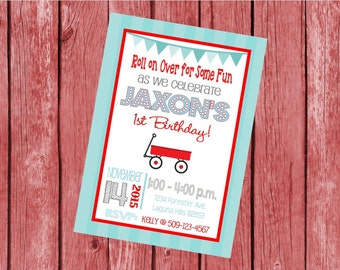"""Customized 5x7"""" Printable OR Printed Invitation WITH Envelopes - Red & Blue Little Red Wagon - Or Match ANY theme in my Shop"""