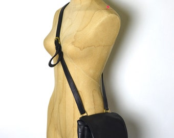 Vintage COACH Sidepack - Black Leather Small Day Bag - Drawstring