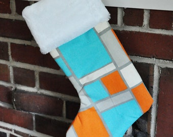 READY TO SHIP Christmas Stocking Mandarin Orange Chevron SeeSaw Rosa Hop Scotch no.340