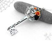 Spooky Orange Owl Key / Halloween Jewelry / Key to my Heart Necklace / Skeleton Key Necklace / Jewelry for Women / Halloween Costume