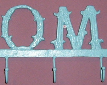 Painted, Metal Coat Hanger, Wall Coat Rack , Turquouise, Home Sign, Wrough Iron, Wall Decor, Coat Rack