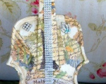 Upcycled, Violin, Decoupage, Cherub,Decorative Violin, Jeweled Violin,