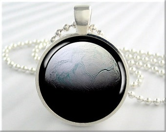 Enceladus Moon Pendant, Jupiter Moon Space Necklace, Resin Jewelry, Space Geek Gift, Planet Jewelry, Round Silver (731RS)