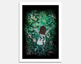 Into the Forest - A4 or A3 Art Print / Artwork / Illustration / Nature /  Forest / Child / Childhood / Green