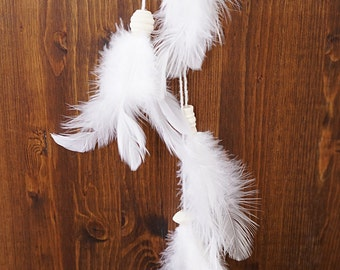 White Feather Angel Dream Catcher, Modern Dream Catcher Mobile Feather Tassels Dream Catcher Large Macrame Wall Hanging Fiber Art Bohemian