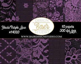 Lace Digital Paper, Purple and Black Lace Digital Paper, Purple and Black Digital Paper, Dentelle, Planner Sticker Paper, #14020