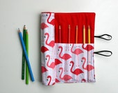 Pink Flamingo Pencil Roll Includes 12 Quality Pencils + One HB Graphite Pencil Crochet Hook Roll Brush Roll