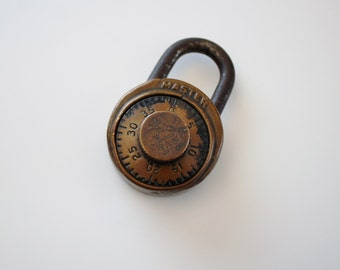 Vintage Brass Combination Padlock - Master Lock Co. Champ Lock - Made in USA
