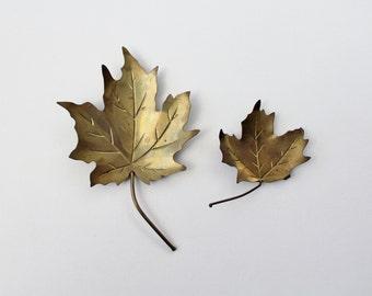 Vintage Brass Leaf Trinket Dish - Autumn Colors Decor - Two Maple Leaf Trinket Dish Displays