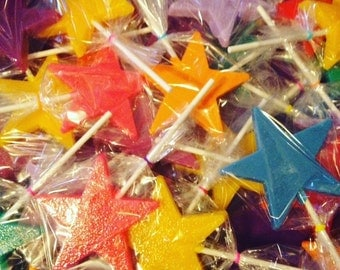 Large Star Hard Candy Lollipops