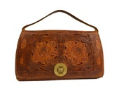 Vintage Tooled Leather Purse Decorated with Rose Flowers, Wood Grain Bark Motif, Multi-Pocket