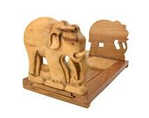 Vintage Wood Elephant Bookstand // Indian Hand-Carved Animal Expandable Wooden Bookends // Adjustable Desktop Book Holder // Red Inlaid Eyes
