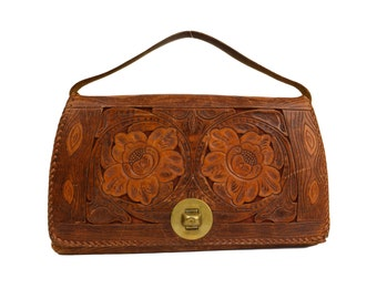 1940's Tooled Leather Purse Decorated with Rose Flowers, Wood Grain Bark Motif, Multi-Pocket, Vintage Mexico