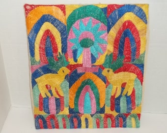 Vintage Silk Embroidery on Canvas - India Style Folk Art