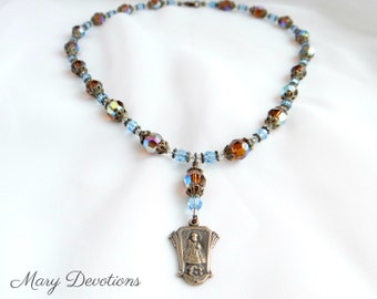 Topaz and Aquamarine Crystal Infant of Prague and Crystal Necklace and Earring Set