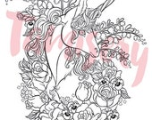 Floral Unicorn  8.5x11 printable coloring page. Adult coloring pages