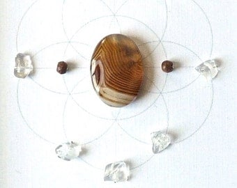 STRENGTH STAMINA FOCUS --- framed sacred crystal grid --- agate, quartz