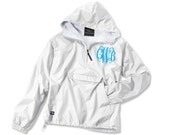 Monogrammed Pullover Rain Jacket, Lined Rain Jacket, Hooded Pullover, Personalized Anorak, Preppy Pullover, Sorority Pullover, Hoodie