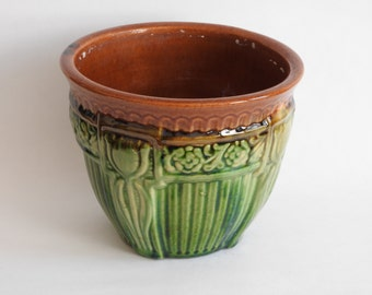 USA Pottery Green and Brown Decorative Jardiniere Planter