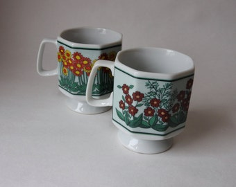 Ceramic 70s Floral Japan Made Pedestal Mugs