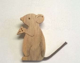 mouse brooch wood scroll saw