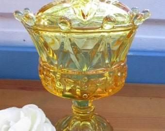 Vintage FOSTORIA Topaz Yellow Glass  CROWN Footed Candy Dish/Yellow Collectible Wedding Gift/Rare Fostoria Yellow Depression Glass