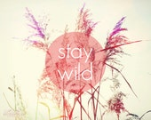 Stay Wild Print, Quote, Photography, Field, Boho Decor, Wall Art, Hippie Art, Nature, Large Print, Typography, Bohemian Home Decor, Sunrise