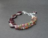 Red Garnet Wavy Oval Shape, Rainbow Tourmaline Double Strands, 925 Sterling Silver Bracelet, Multi Strand Bracelet