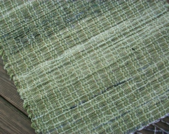 handmade loom woven rag rug green designer fabric  south dakota made
