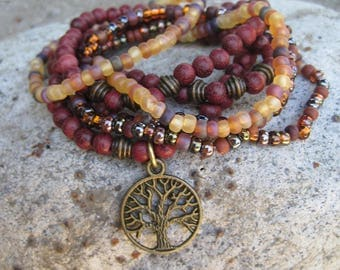 Tree of Life Charm - Bohemian Hippie Stretch Stack Bracelet Set of 7 - Rustic Boho Wood Glass and Brass Bracelet Stacker Set