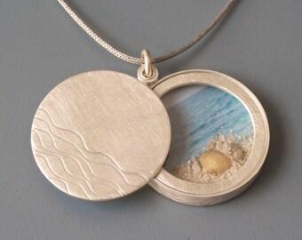 Big Sterling Silver locket, modern locket, handmade sterling silver locket, sandy beach and seashells