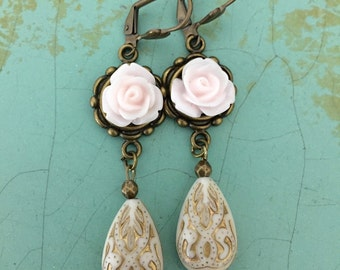 Pink And Cream Earrings, Dangles, Rose Earrings, Bridal Jewelry, Wedding, Ivory Pink Drops