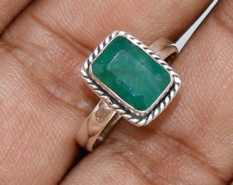 925 Solid Sterling Silver Faceted Emerald Gemstone Women Ring SJXR_0117