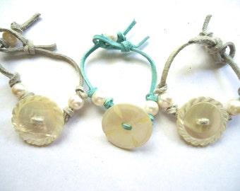 Wedding Bracelets, Pearl Bracelets, Leather and Pearl Bracelet, Mother of Pearl Button Bracelet, Set of Three, Brides Bracelet, Bridesmaids